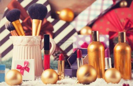 Makeup cosmetics and christmas gifts