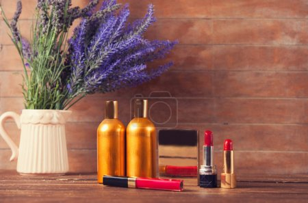Lavender and makeup cosmetics