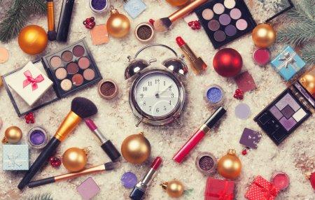 Alarm clock and cosmetics