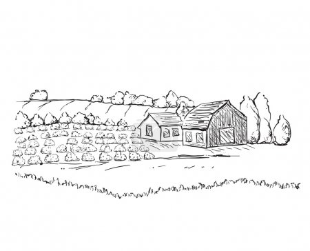 Illustration for Hand drawn village houses sketch and field - Royalty Free Image