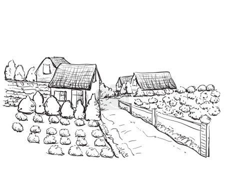 Casas de pueblo dibujadas a mano