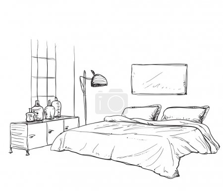 Illustration for Bedroom modern interior sketch. Hand drawn furniture - Royalty Free Image