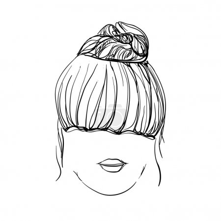Illustration for Girl with messy bun. Hand drawn hairstyle - Royalty Free Image