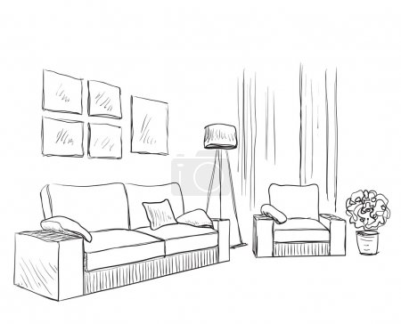 Illustration for Modern interior room sketch. Hand drawn sofa and chair - Royalty Free Image