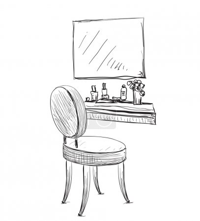 Vanity table and folding chair sketch.