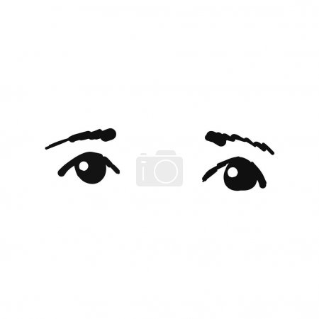Vector image. Two beautiful female eyes looking forward. Sketch of an eye drawn in ink by hand