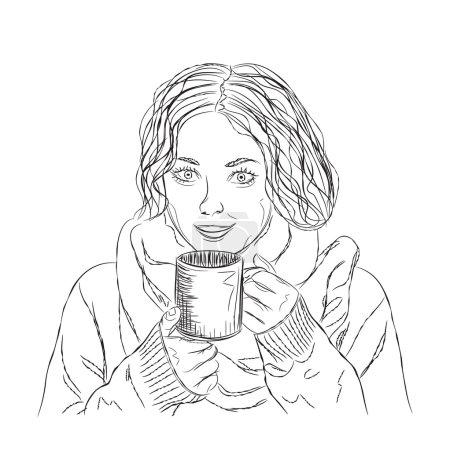 Illustration pour Fille vectorielle avec cheveux bouclés noirs et café. - image libre de droit