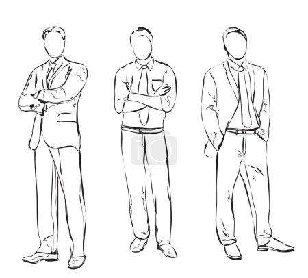 Illustration pour Homme d'affaires en costume. Dessin à la main . - image libre de droit