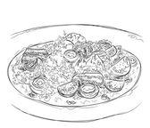 Hand drawn salad sketch Food illustration