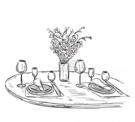Illustration for Romantic dinner with wine. Hand drawn wares - Royalty Free Image