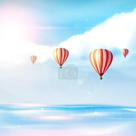 Illustration pour Plage et mer tropicale avec soleil éclatant et montgolfière sur ciel bleu. Vecteur photoréaliste (non traqué) ) - image libre de droit