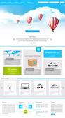 One Page Website-Design für Ihr Unternehmen mit Heißluftballons realistische Darstellung. Vektorenv 10