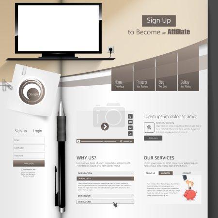 Illustration pour Creative Professional Website Template Design, Brochure ouverte - image libre de droit