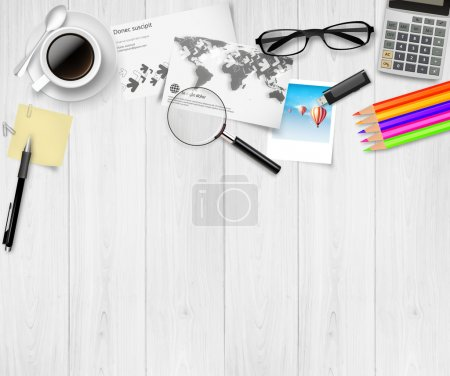 Illustration for Realistic Vector top view of working place elements on white table - Royalty Free Image