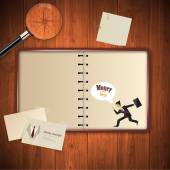 Open blank notebook on wooden table Vintage style Vector Eps 10