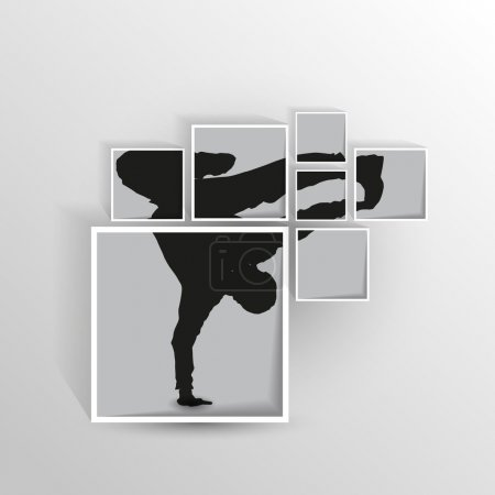 breakdancer illustration in squares
