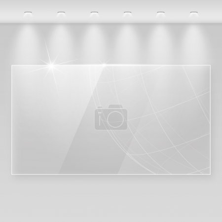 Illustration for Elegant realistic glass frame on a wall with lights for images and advertisement. Fully editable eps10 - Royalty Free Image