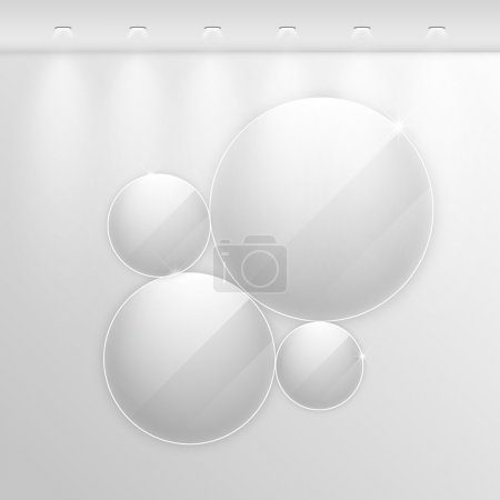 Illustration for Elegant realistic glass frames on a wall with lights for images and advertisement. Fully editable eps10 - Royalty Free Image