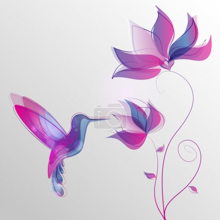 Illustration for Flying hummingbird, colorful vector abstract illustration - Royalty Free Image