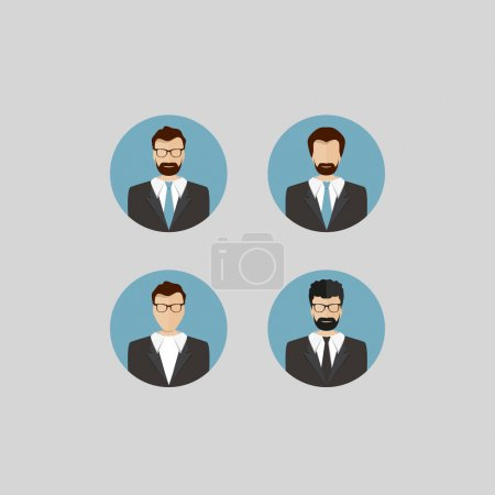 Avatars of Male Faces Circle Icons