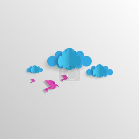 Illustration for Origami Design sky with clouds and birds Vector Design - Royalty Free Image