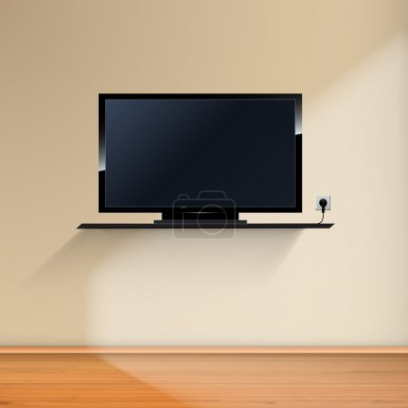 Illustration for Minimal Room with Tv - Realistic Vector illustration. - Royalty Free Image