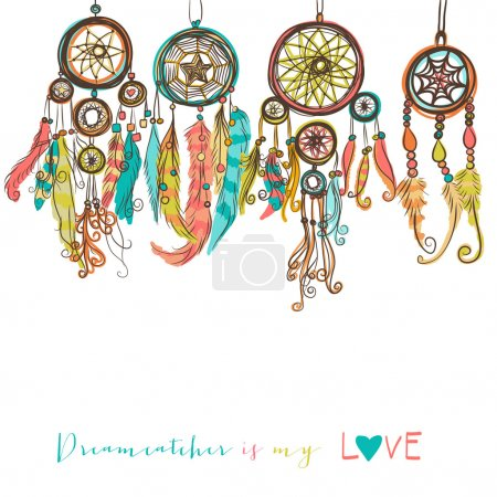 Illustration for Beautiful vector illustration with dream catchers. Colorful ethnic, tribal elements - Royalty Free Image