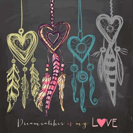 Illustration for Beautiful vector illustration with dream catchers. Colorful ethnic, tribal elements on blackboard background - Royalty Free Image