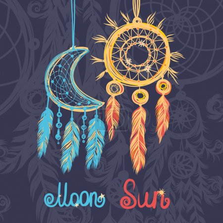 Illustration for Beautiful vector illustration with sun, moon dream catchers. Colorful ethnic, tribal elements - Royalty Free Image