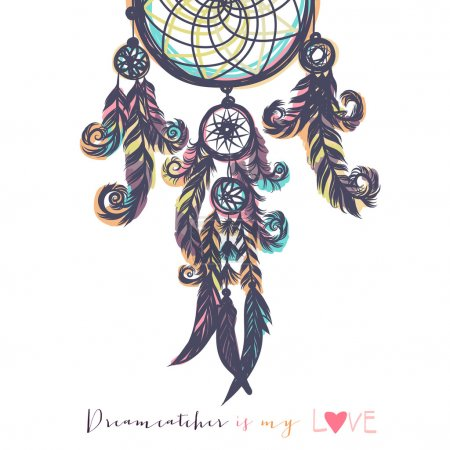 Illustration for Beautiful vector illustration with dream catchers. Colorful ethnic, tribal elements. Isolated on the white background - Royalty Free Image