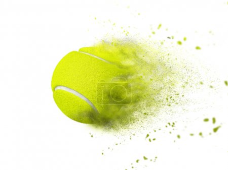 Tennis ball with creative speed, power, sand, stor...