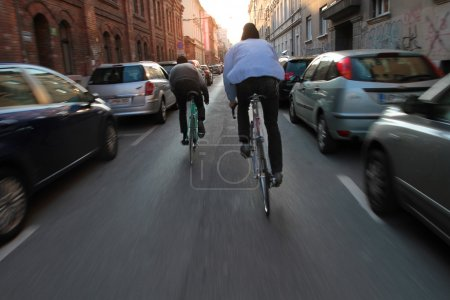 Urban city lifestyle - two cyclist