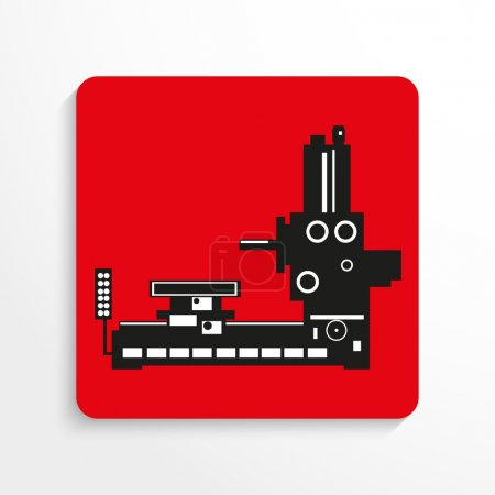 Industrial equipment. Machine. Vector icon. Black and white image of a red background with shadow.