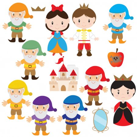 Snow White and the Seven Dwarfs vector illustration