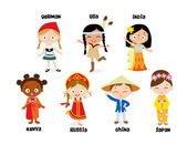Kids in national costumes vector illustration
