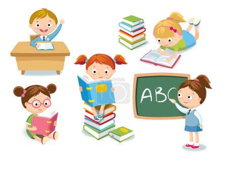Photo pour Mignons enfants dans un style simple, illustration vectorielle - image libre de droit