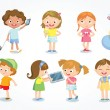 Cute kids in a simple style, vector illustration...