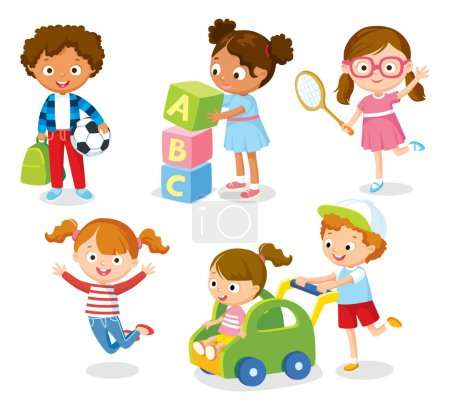 Illustration for Cute kids in simple style, vector illustration - Royalty Free Image