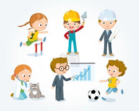 Photo pour Métiers pour enfants, illustration vectorielle - image libre de droit
