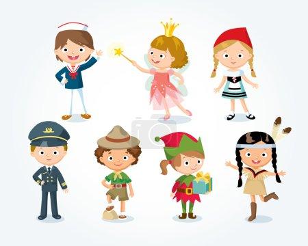 Illustration pour Costumes d'Halloween pour enfants, illustration vectorielle - image libre de droit