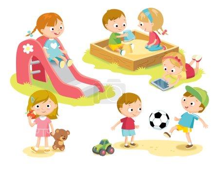 Illustration pour Enfants jouant sur l'aire de jeux, illustration vectorielle - image libre de droit