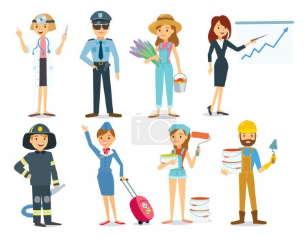 Illustration for People with different professions, vector illustration - Royalty Free Image
