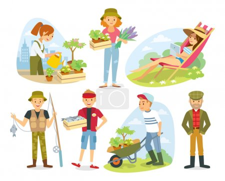 village people with organic food,