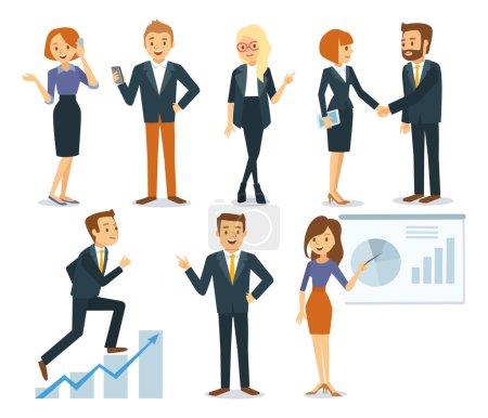 Illustration pour Ensemble de gens d'affaires avec des documents et des gadgets vecteur, illustration - image libre de droit