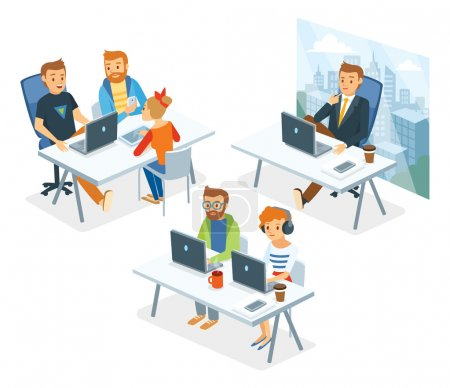 Illustration pour Personnes dans le bureau de co-working, illustration vectorielle - image libre de droit