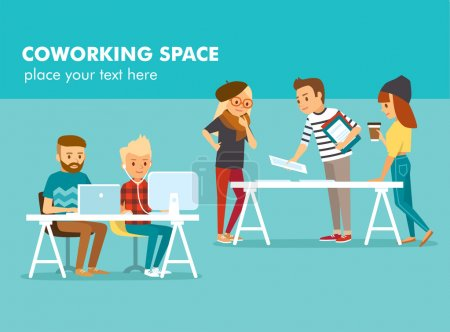 Illustration for Creative people working in co working office, vector illustration - Royalty Free Image