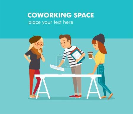 Illustration pour Personnes créatives travaillant dans un bureau de co-working, illustration vectorielle - image libre de droit