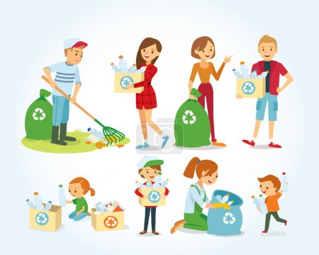Illustration for Vector set of people cleaning, gathering plastic for recycling - Royalty Free Image