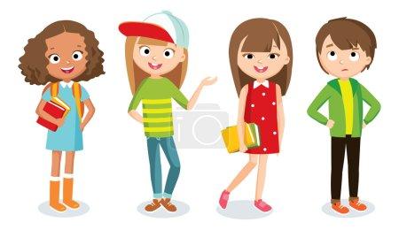 Photo pour Adolescent filles et garçons set vecteur, illustration - image libre de droit