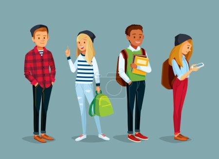 Illustration pour Ensemble des étudiants vecteur, illustration - image libre de droit